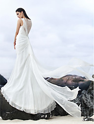 Lanting Bride Sheath/Column Wedding Dress-Court Train Bateau Chiffon / Lace
