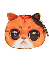 Women Coin Purse Cat Animal Print Mini Wallet Zipper Closure Small Clutch Bag