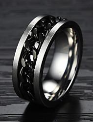 Anéis Pesta / Diário / Casual / Esportes Jóias Aço Titânio / Chapeado Dourado Masculino Anéis Grossos 1pç,7 / 8 / 9 / 10 Dourado / Preto
