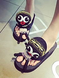 Women's Shoes Fur Platform Flip Flops Sandals Outdoor/Casual Black/Red