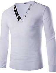 Men's V Collar Design Fashion Cultivating Long  Sleeve T-shirt