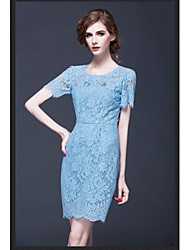 2015 Summer New Women Stylish Elegant Slim Package Hip Dress High Quality Soluble Lace Blue Hollow Dress HNZ0806