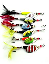 """6 pcs Poissons nageur/Leurre dur leurres de pêche Cuillères Leurre Buzzbait & Spinnerbait Multicolore 7.8 g/1/4 Once,50 mm/2"""" pouce,Métal"""