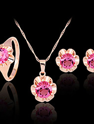 May Polly  Color zircon Rhinestone Necklace Earrings Ring Set