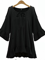 Women's Round Neck Dress , Cotton Mini ¾ Sleeve
