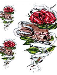 10 Pcs Green Leaves Red Rose Skull Temp Tattoo Stickers