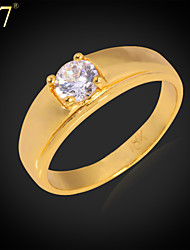 U7® Women's Platinum/18K Gold Plated Ring for Women Jewelry Gift Cubic Zirconia Simple Wedding Band Ring