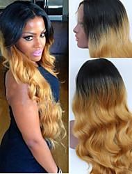 Hot Sale Long Wavy Natural Ombre Wig Hand Tied Lace Front Wig Perfect Blonde Wig Sexy Wig