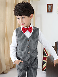 Boy's Preppy Chic Striped Clothing Sets(Vest & Long Sleeve Bow Shirt & Pants)