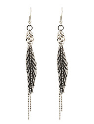 Fashion Women Vintage Metal Feather Drop Earrings