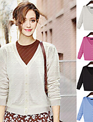 Women's Round Sweaters , Cotton Blend Casual Long Sleeve Phylomeya