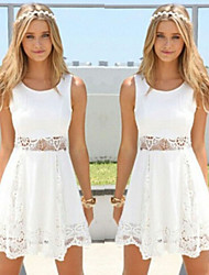 Women's Round Dresses , Lace Sexy/Beach/Casual/Cute/Party Sleeveless Cathy