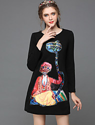 Women Clothing Autumn Winter Vintage Plus Size Bead Embroidery Print Fashion Party/Casual/Work Dress