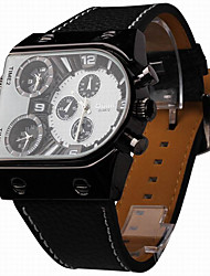 Men's Dual Time Display  Leather Band Quartz Watch