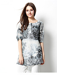 2015 Chinese Style Women Summer Casual Loose Dress Fifth Sleeve Ink Printed Button Dress High Quality Women