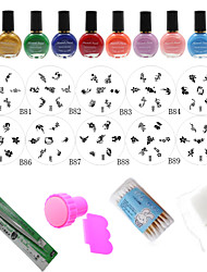 DIY Nail Polish Mould Tools,10PCS Nail Plates + 10 Colors Nail Stamp Polish +Stamper + Scraper