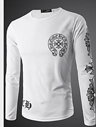 Camisetas ( Algodón Compuesto )- Casual Manga Larga para Hombre