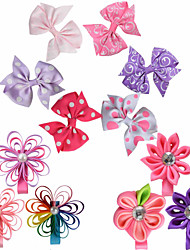 12 Pcs Hair Bows Kanzashi Loop Classic Bow Combination Pinting Ribbon Hair Clips Hairbows Allige Clip Handwear AC028