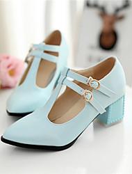 Zapatos de mujer Cuero Sintético Tacón Robusto Tacones Pumps/Tacones Oficina y Trabajo/Casual Azul/Rosa/Blanco