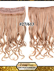24inch 60cm 120G color 27/613# Clip in On Hair Extensions Wavy Clip On Hairpieces
