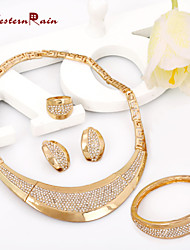 WesternRain Chunky Big gold plated fashion jewelry wedding jewelry set for African women with earrings jewelry charms