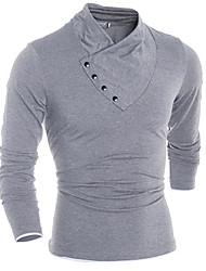 Katoen - Effen - Heren - T-shirt - Informeel/Werk/Formeel - Lange mouw