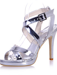 Women's Shoes Patent Leather Stiletto Heel Open Toe Sandals Wedding/Party & Evening Black/Blue/Silver/Gold