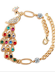 Lucky Doll Women's Bohemia Gemstone & Crystal Cubic Zirconia Colorful Peacock Bracelet