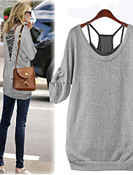Women's Bateau T-Shirts , Organic Cotton/Rayon Casual/Work Long Sleeve Phylomeya
