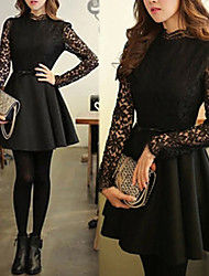 Women's Dresses , Lace/Viscose Sexy/Casual/Lace Long Sleeve K.M.S