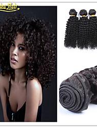 3 unidades / lote barato Kinky afro cabelo humano grau tecer onda 8a virgem brasileira crespo trama do cabelo encaracolado