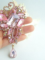 Gorgeous 4.33 Inch Gold-tone Pink Rhinestone Crystal Drop Flower Brooch Pin Art Deco