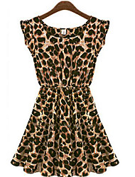 Women's Leopard Black/Brown Dress,Casual Round Neck Butterfly Sleeve