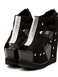 Women's Shoes   Wedge Heel Wedges/Peep Toe Sandals Casual Black