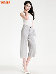 De las mujeres Pantalones Hasta la Bota - Casual/Para Trabajo Microelástico - Algodón/Lino