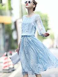 Women's Round Neck Flower Dress , Chiffon Above Knee Long Sleeve