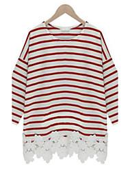 Women's Vinga Sexy Print Casual Lace Work Plus Long Sleeve T-shirt , Cotton Blends