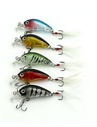"5 pcs Manivela Cebos Manivela Colores Surtidos g/Onza mm/1-3/4"" pulgada,Plástico duro Pesca de Mar Pesca de agua dulce Pesca de Perca"