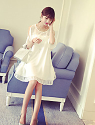 Round Neck Lace Maternity Dress,Chiffon Above Knee ½ Length Sleeve