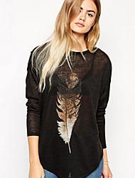 Ronde hals - Katoenmixen - Bloem - Vrouwen - T-shirt - Lange mouw