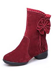 Modern Women's Dance Shoes Boots Velvet Breathable Cotton-padded Low Heel Black/Red