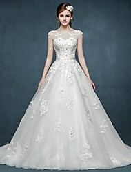 Ball Gown Wedding Dress Court Train Bateau Tulle with
