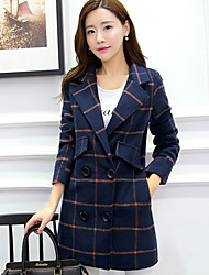 Women's Plaid White / Yellow Coats & Jackets , Vintage / Bodycon / Casual / Party / Work Shirt Collar Long Sleeve