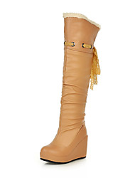 Calçados Femininos Courino Anabela Plataforma/Botas da Moda Botas Escritório & Trabalho/Social/Casual Preto/Marrom/Branco