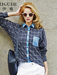 Veri Gude Womens Vintage Style Off Shoulder Plaid Patchwork Shirt Loose Blouse