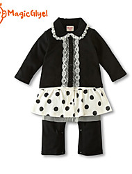 Baby Girls' Jumpsuits Long Sleeve Turn-down Collar Top Dot Skirt Pants Design Rompers (Cotton)