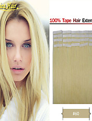 PU Tape Skin Weft Hair Extensions 100g Straight Multiple Color 100% Soft Indian Remy Human Hair Glue Skin Weft