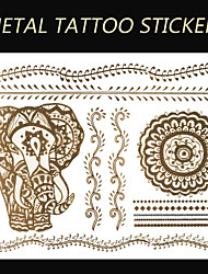 New Brand India Metallic Flash Tatoo Temporary Sticker Sexy Tattoo Body Art\Elephant Vs Flower\Fashion Fake Tattoo