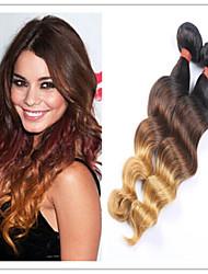 3Pcs/Lot Wholesale Peruvian Ombre Loose Wave Hair Extensions 1B/4/27 Ombre 3 Tone Color Virgin Hair Peruvian Loose Wave
