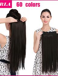 24inch 5clips extensão natural do cabelo pedaço de cabelo sintético resistente ao calor por muito tempo reto 666